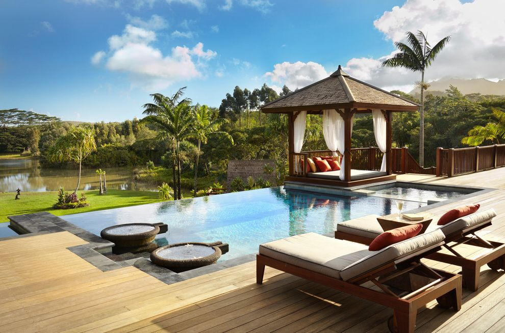 Outdoor Cabana Bed   Tropical Pool Also Bale Gazebo Bali Balinese Cabana Deck Fountains Hot Tub Infinity Edge Infinity Pool Lounge Chair Palm Trees Pavilion Rectilinear Pool Salt Water Pool Tropical Architecture Tropical Pool View Wood Deck Wood Patio