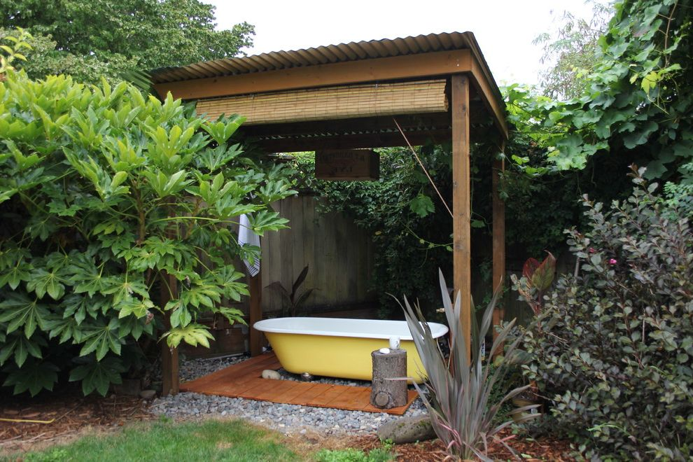 Outdoor Roll Up Shades Lowes with Eclectic Patio Also Bamboo Shade Bath Bathtub Clawfoot Corrugated Metal Roof Freestanding Bath Oasis Outdoor Outdoor Bathroom Outdoor Tub Relax Relaxing Soak Soaking Spa Tub