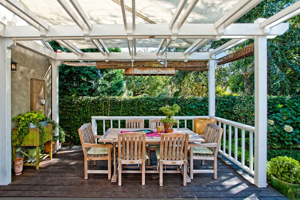 Outdoor Roll Up Shades Lowes with Traditional Deck  and Dining Chairs Dining Table Outdoor Dining Pergola Awning Railing Woven Shades