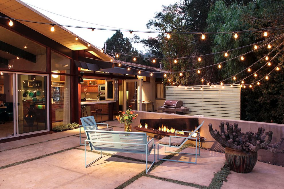 Outdoor Strand Lighting   Midcentury Patio Also Backyard Cactus Container Plants Exterior Lighting Metal Patio Furniture Midcentury Modern Modern Fire Pit Pavers Planting Between Pavers Potted Plants Ranch Sliding Glass Doors String Lights