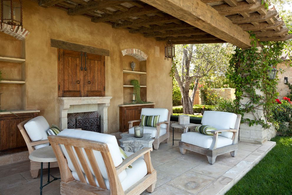 Outdoor Tv Cabinet Plans   Mediterranean Patio Also Arch Beam Brick Built in Cabinets Covered Paio Loggia Outdoor Fireplace Outdoor Furniture Patio Stucco Timber Wood Ceiling Wood Furniture