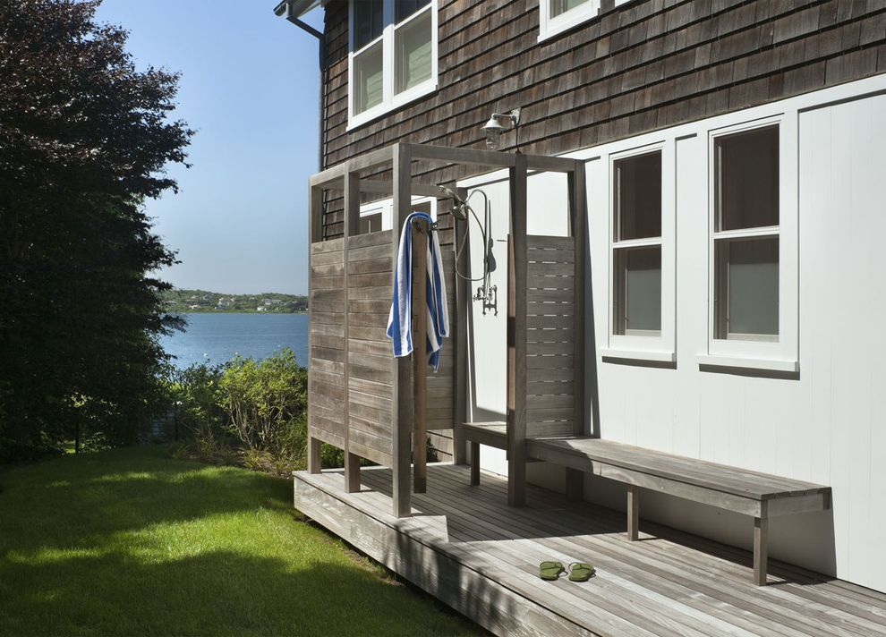 Outside Benches for Sale with Beach Style Patio  and Built in Bench Grass Lawn Outdoor Shower Shingle Siding Shower Enclosure Turf Wood Bench