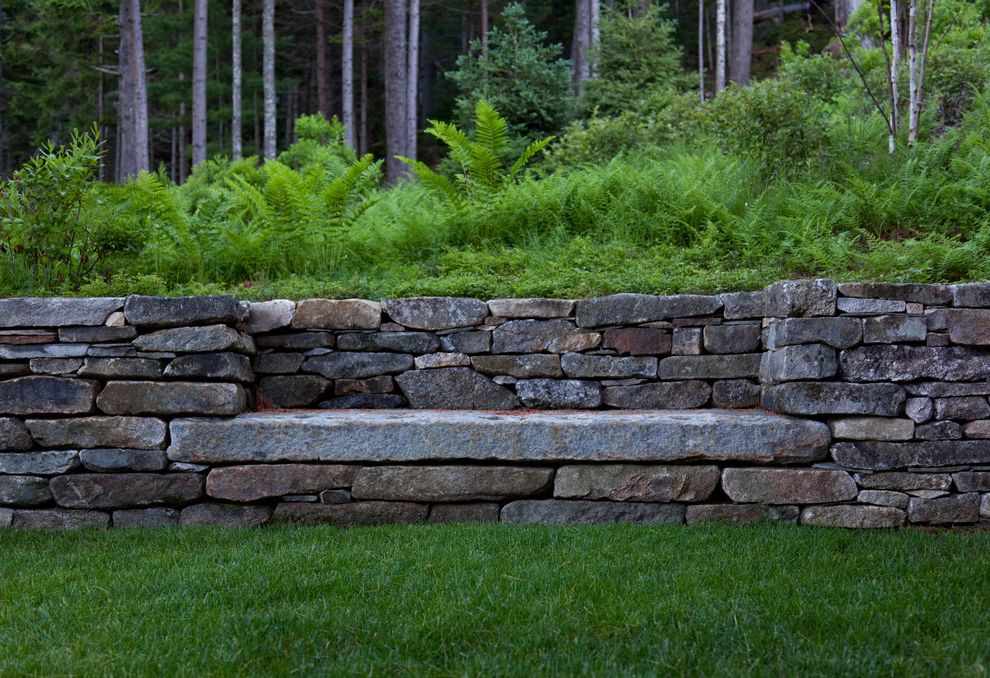Outside Benches for Sale with Rustic Landscape Also Built in Bench Dry Laid Stone Ferns Forest Garden Bench Grass Lawn Mass Planting Retaining Wall Stacked Stone Stone Walls Turf