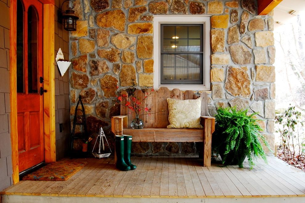 Outside Benches for Sale with Rustic Porch  and Backdoor Bench Cozy Creative Outdoor Patio Porch Potted Ferns Rain Boots Raised Panel Door Stone Wall Wood Bench