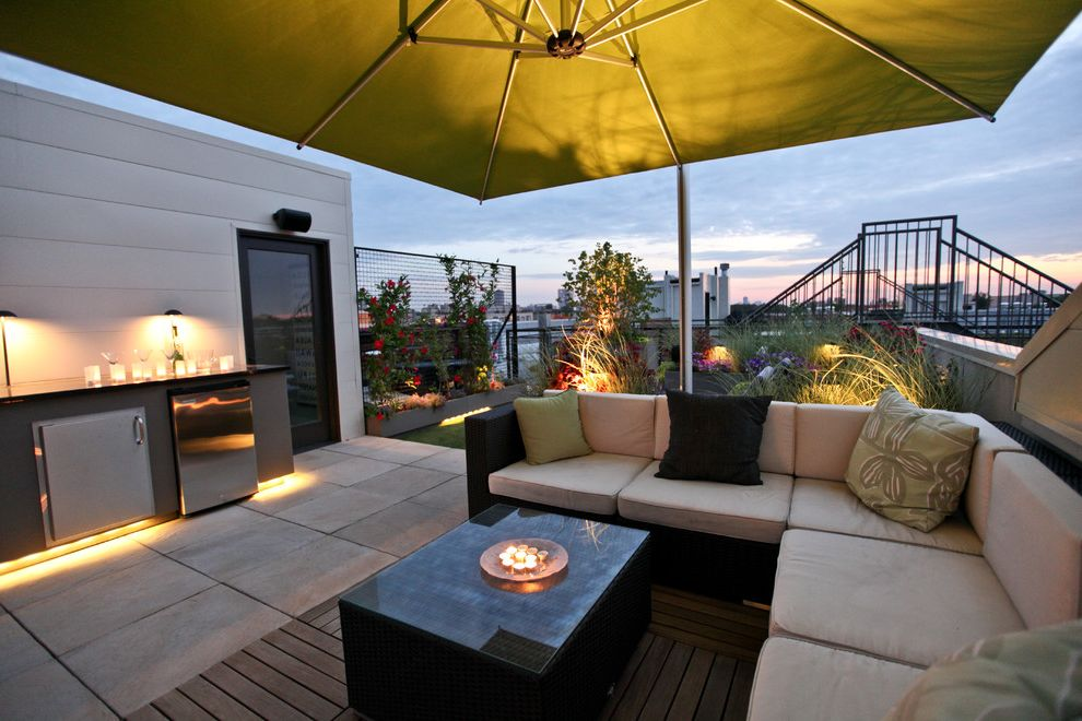 Outside Umbrella Stand   Contemporary Patio  and City View Outdoor Living Outdoor Rooftop Design Plants Roof Deck Toe Kick Lighting Trellis Umbrella