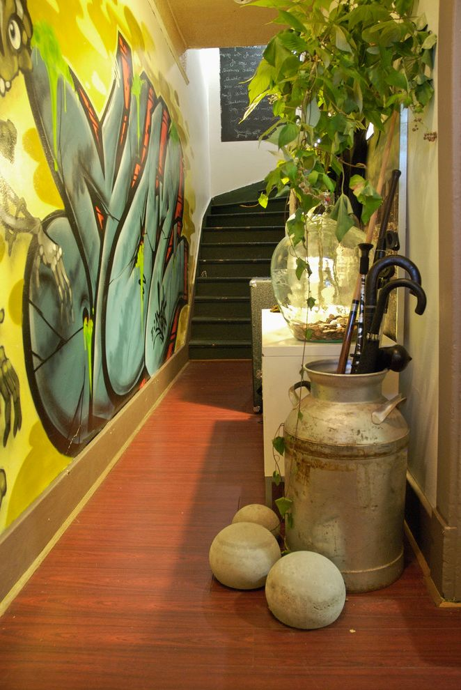 Outside Umbrella Stand   Eclectic Entry Also Chalkboard Paint Chalkboard Wall Graffiti Hallway Indoor Plants Staircase Umbrella Stand Wall Art Wall Mural Wood Floors