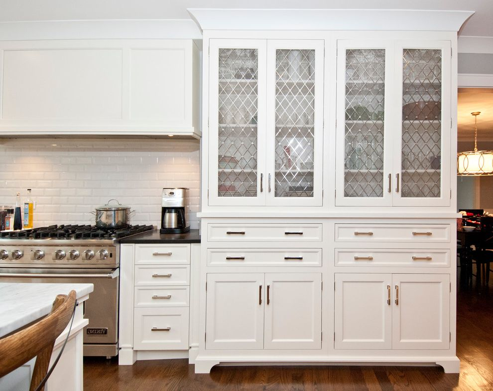 Outwater Hardware   Traditional Kitchen  and Backsplash Glass Cabinets Range Subway Tile Tiled Backsplash White Cabinets White Kitchen White Tile White Tiled Backsplash