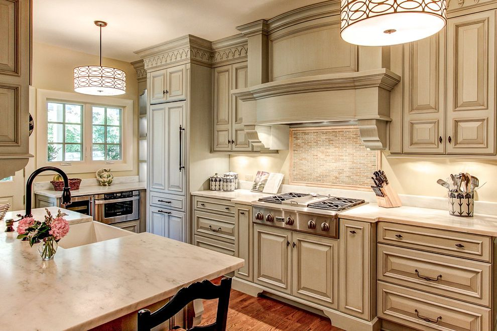 Outwater Hardware   Traditional Kitchen  and Cabinet Front Refrigerator Danby Marble Drum Pendant Kitchen Island Marble Counter Mosaic Backsplash Off White Cabinets Traditional Bar Stool Traditional Cabinets Undermount Sink White Counters