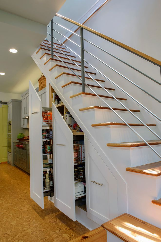 Outwater Hardware with Transitional Staircase Also Cork Floor Hidden Storage Metal Railing Metal Stair Railing Pull Out Drawers Storage Under Stairs Under Stair Storage White Staircase Wood Staircase Wood Stairs