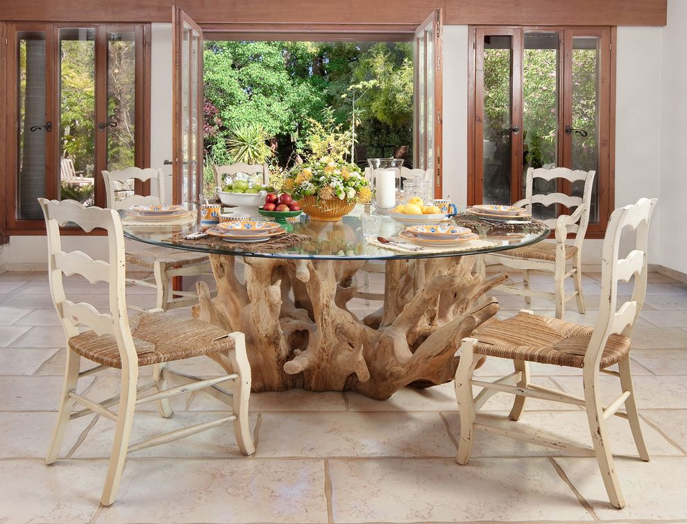 Oval Dining Table Pedestal Base with Contemporary Dining Room  and Centerpiece French Doors Glass Dining Table Glass Doors Ladder Back Chairs Neutral Colors Round Dining Table Rush Seat Chairs Table Setting Tile Flooring Wood Table Base