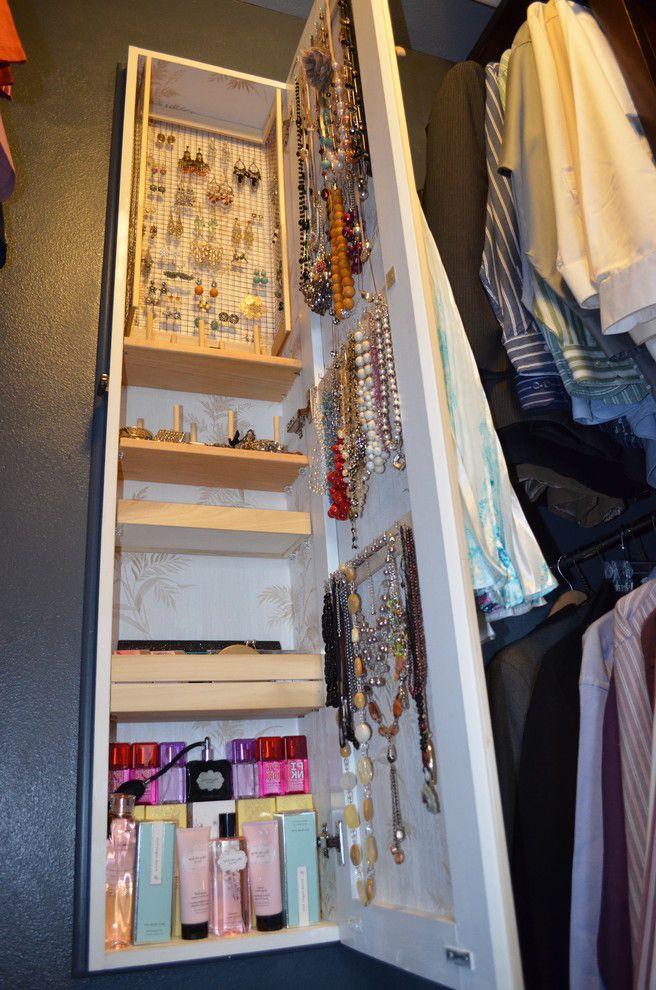 Over the Door Mirrored Jewelry Armoire   Eclectic Closet Also Between Studs Storage Hidden Storage Jewelry Armoire Jewelry Cabinet Master Closet Small Spaces