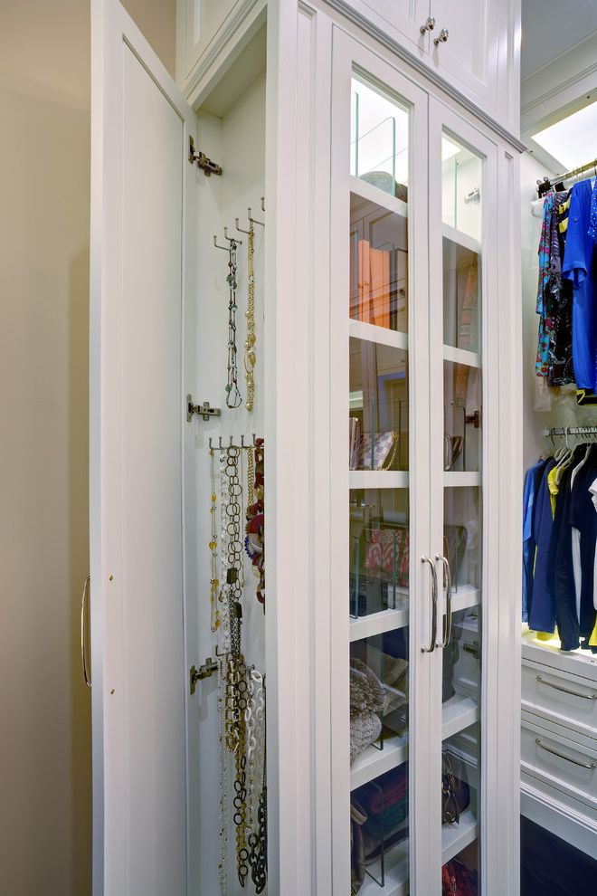 Over the Door Mirrored Jewelry Armoire   Traditional Closet Also Accessories Concealed Hidden Hooks Jewelry White