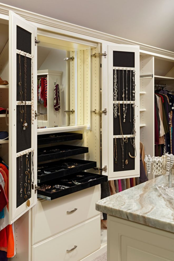 Over the Door Mirrored Jewelry Armoire   Traditional Closet  and Accessories Built in Mirror Cabinet Jewelry Necklace Hooks Pull Out Trays Slide Out Trays Sliding Trays