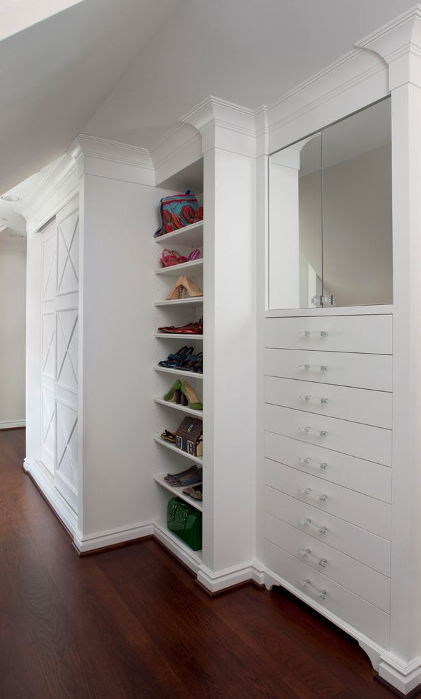 Over the Door Mirrored Jewelry Armoire   Traditional Closet  and Built in Cabinetry Clothing Storage Crown Molding Dark Hardwood Floor Drawers Dressing Area Mirror Shoe Shelves Sloped Ceiling Wardrobe White Cabinetry White Wall X Pattern