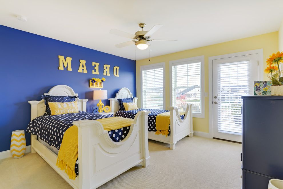 Oversized Comforters with Beach Style Kids Also Beach House Carpet Chevron Yellow Side Table Guest Room Kids Bedroom Polka Dot Comforter Twin Bed Two Tone Walls White Bed Frame Yellow and Blue Beedroom Yellow Throw Blanket