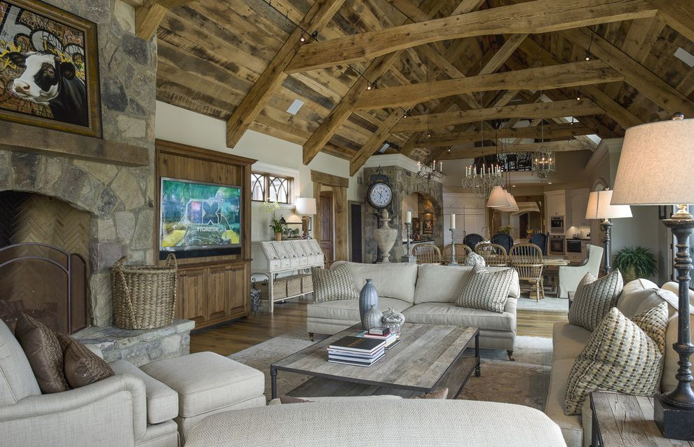Oversized Comforters with Farmhouse Living Room  and Cathedral Ceiling Gray Sofa High Ceiling Rustic Wood Trusses Stone Wall Wood Ceiling
