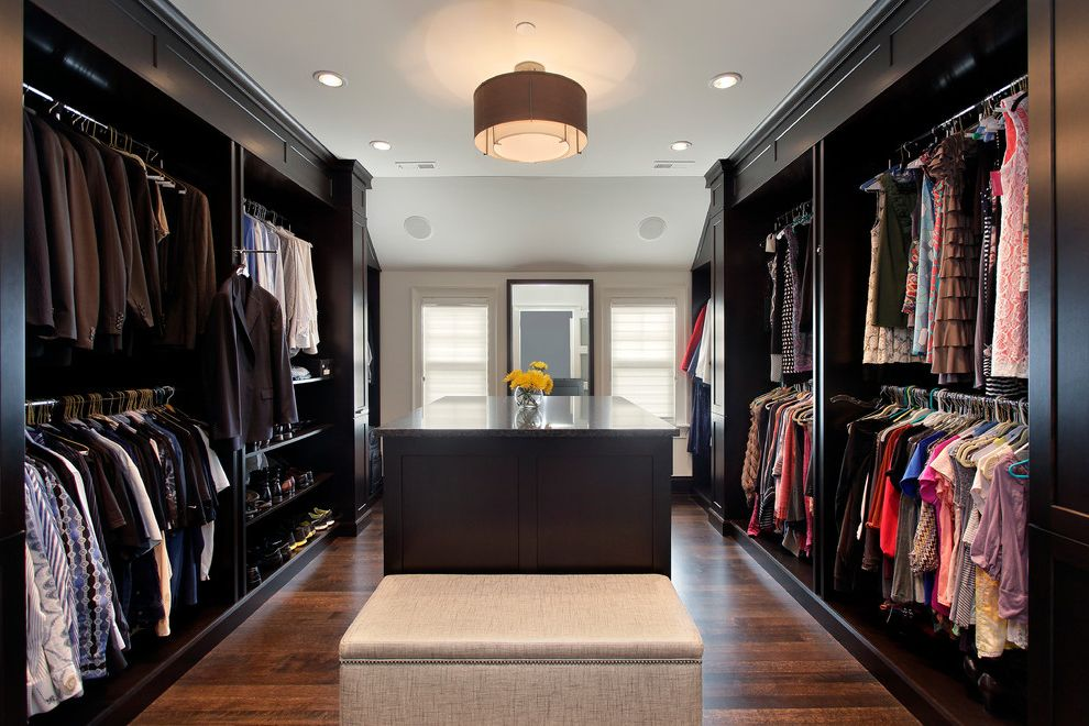 Oversized Hangers with Transitional Closet and Beige Ottoman Brown Drum Pendant Light Closet Island Clothing Rod Clothing Storage Floor Mirror Oversized Closet Shoe Storage Walk in Closet Wood Floor