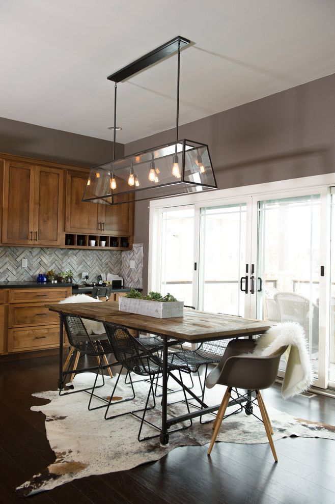 Overstock Com Review with Rustic Dining Room Also Animal Skin Rug Dining Chairs Modern Herringbone Backsplash Modern Farmhouse Rustic Modern