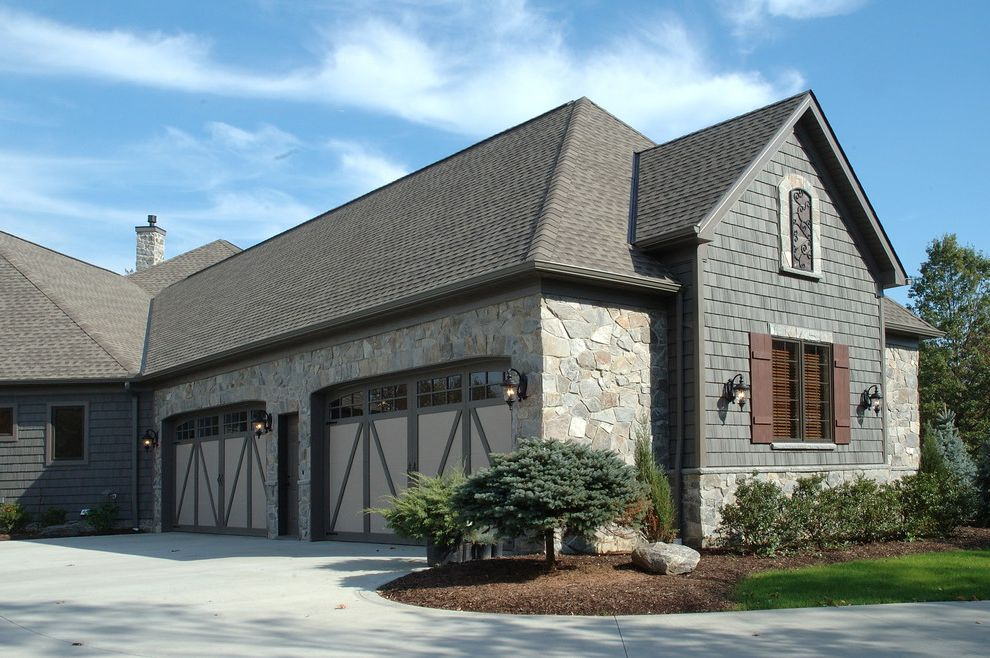 Owen Corning   Eclectic Garage Also Brown Driveway Garage Gray Landscaping Lawn Shutter Stone Traditional