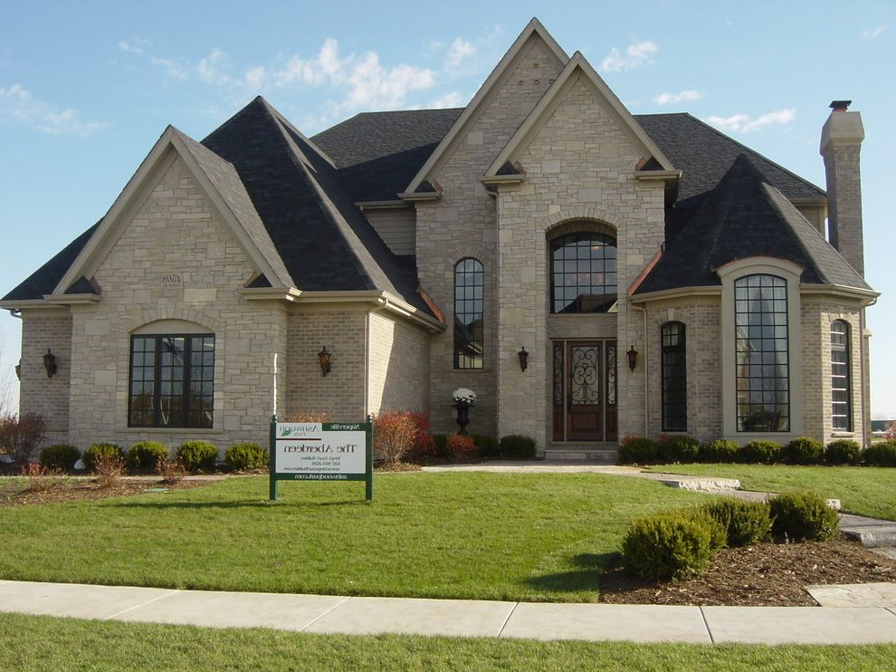 Owen Corning with Traditional Exterior Also Brick Exterior Front Door Side Load Garage Stone Turret
