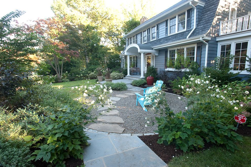 Pacific Sod with Traditional Landscape Also Adirondack Chairs Container Plants Cottage Garden Dutch Colonial Entrance Entry Grass Gravel Lawn Path Patio Furniture Pavers Potted Plants Turf Walkway