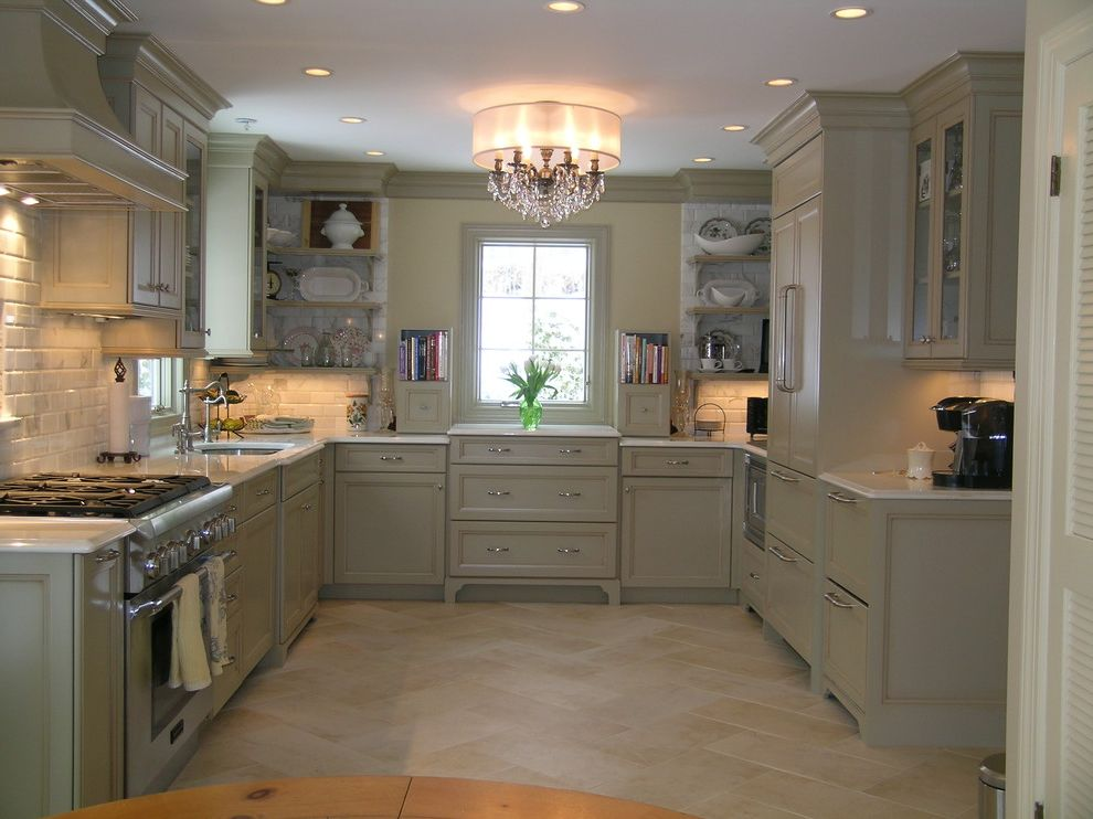 Paint Can Sizes with Traditional Kitchen and Chandelier Country Kitchen Footed Cabinets Herringbone Kitchen Hardware Kitchen Shelves Shade Chandelier Stainless Steel Appliances Subway Tiles Tile Backsplash Tile Flooring Under Cabinet Lighting