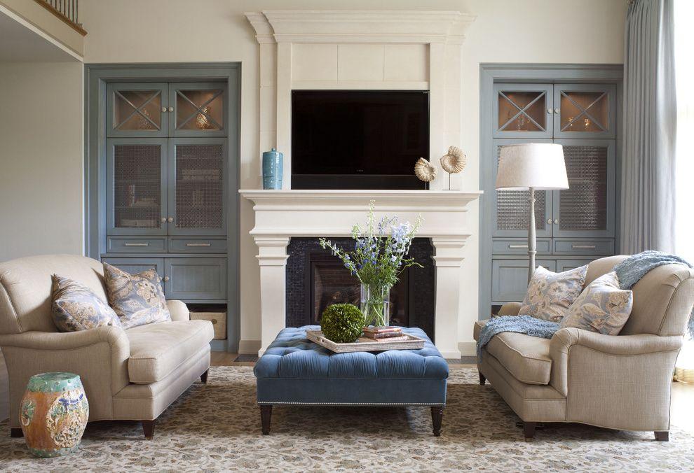 Paint Can Sizes with Transitional Living Room and Area Rug Blue Cabinets Ceramic Stool Glass Cabinet Doors Glass Tile Limestone Fireplace Mantle Metal Grids Sofa Transitional Design Tufted Ottoman Tv Over Fireplace