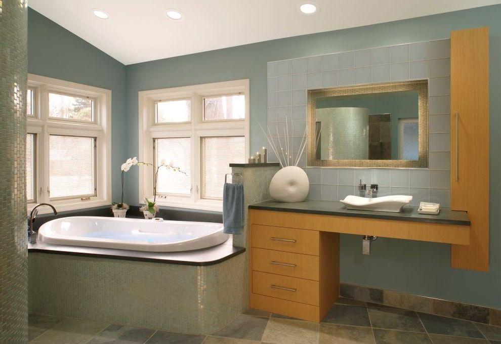 Paint Harmony App   Contemporary Bathroom  and Above Counter Sink Asian Asymmetry Blue Green Corner Shower Glass Mosaic Glass Tile Green Gray Honey Inset Mirror Orange Seafoam Green Slate Floor Tile Wave