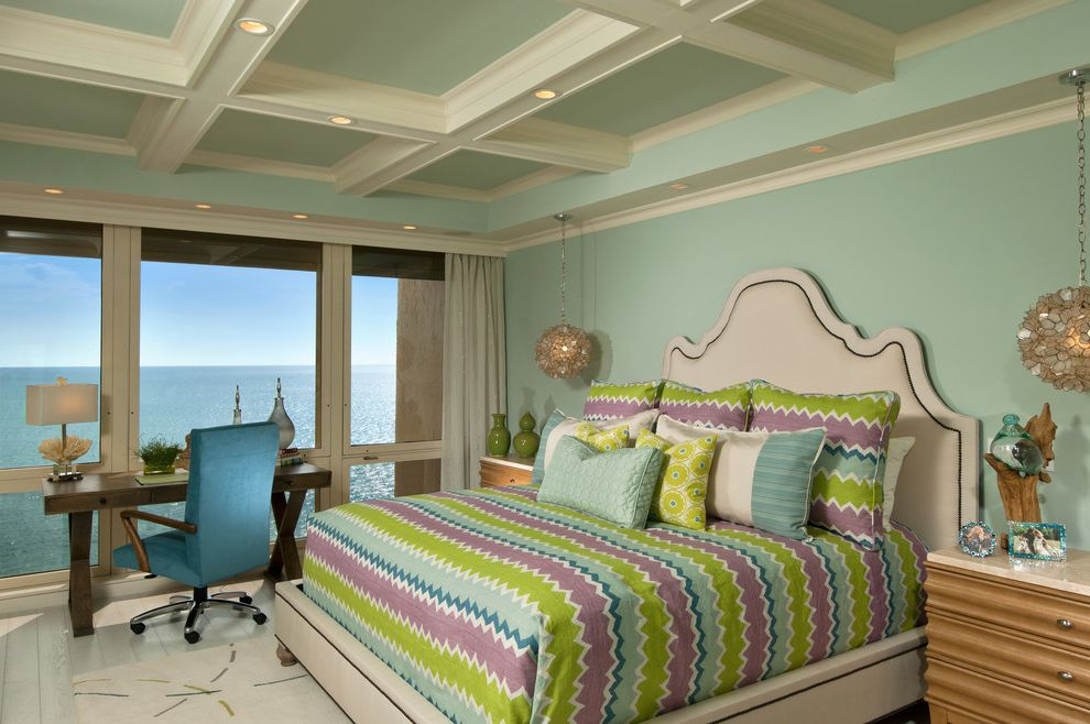 Paint Harmony App   Tropical Bedroom  and Capiz Pendant Lights Casters Corrugated Ceiling Green Large Windows Mint Green Ocean View Purple Wood Floor Zigzag Stripe
