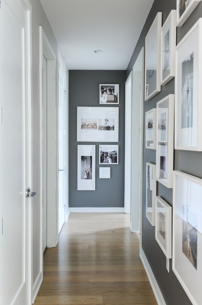 Paint Harmony App with Scandinavian Hall  and Charcoal Walls Custom Millwork Dark Gray Walls Doors Gallery Wall Hall Artwork Hall Decor Neutral Color Scheme