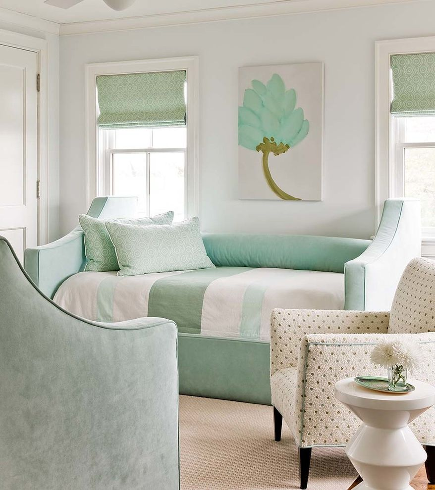 Paint Harmony App with Transitional Bedroom  and Beach Bed Pillows Casual Daybeds Green Bedding Nantucket Natural Relaxed Roman Shades Sitting Area White Trim