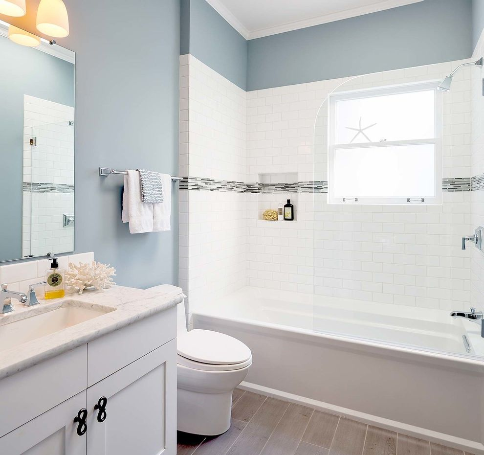 Paint Sheen for Bathroom with Beach Style Bathroom Also Bianco Carrara Blue Bathroom Gray Floor Tile Kohler Archer Porcelain Tile Planks Shower Niche Shower Screen