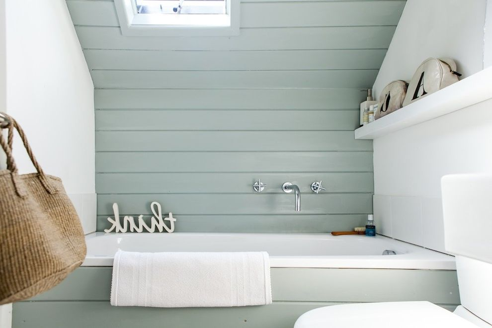 Paint Sheen for Bathroom with Beach Style Bathroom  and Bathroom Bathroom Paint Colour Bathroom Window Muted Blue Open Shelf Paneling Pastel Colors Skylight Sloped Ceiling Small Bathroom Steel Colour Typography Wall Mounted Faucet