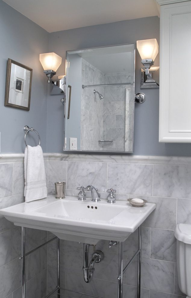 Paint Sheen for Bathroom with Contemporary Bathroom Also Bathroom Lighting Bathroom Mirror Bathroom Tile Blue Walls Neutral Colors Sconce Wainscoting Wall Lighting Washstand