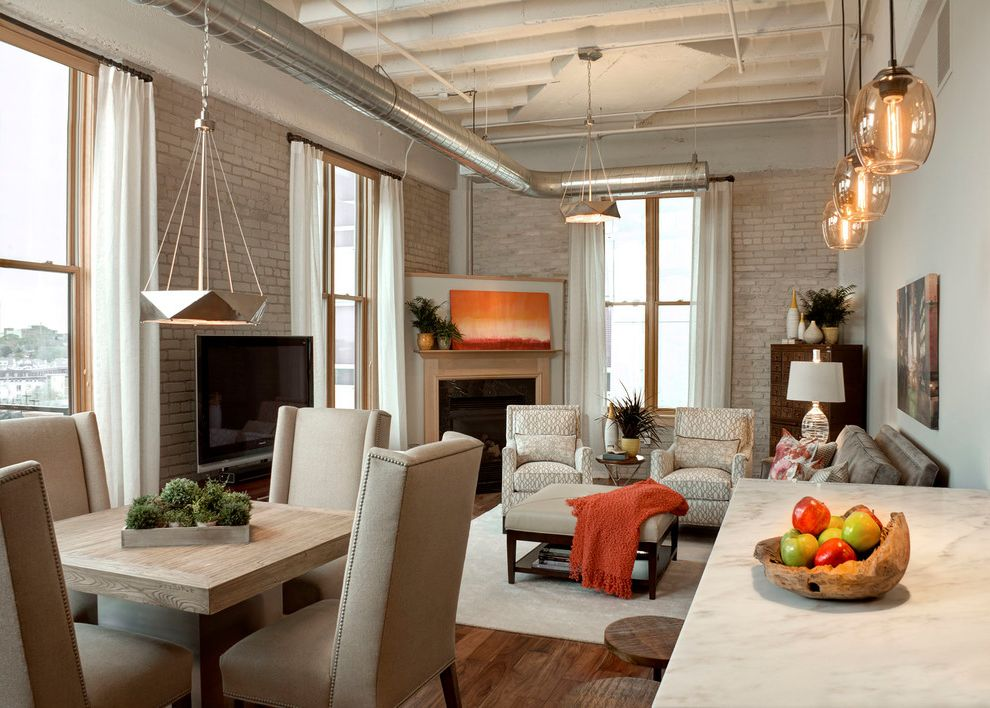 Painters Memphis   Industrial Living Room  and City Apartment Converted Warehouse Apartment Exposed Beams Exposed Brick Exposed Hvac Exposed Pipes Loft Apartment