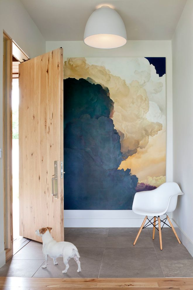 Painting Light Switches   Contemporary Entry Also Flush Mount Light Large Format Tile Floor Large Wall Art Light Wood Door White Armchair White Light Fixture