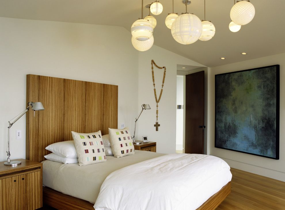 Painting Light Switches   Modern Bedroom Also Artwork Balcony Bench Seat Blown Glass Cable Railing Corner Window Curtain Panels Night Stand Pendant Lights Plaid Blanket Platform Bed Rosary Sheers Table Lamps Water View