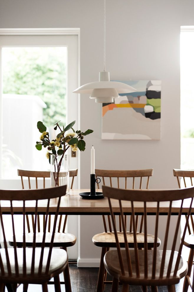 Painting Light Switches   Scandinavian Dining Room Also Candleholder Dining Table Pendant Lighting Vase White Baseboards White Walls Windsor Chair Wood Floors Yellow Flowers