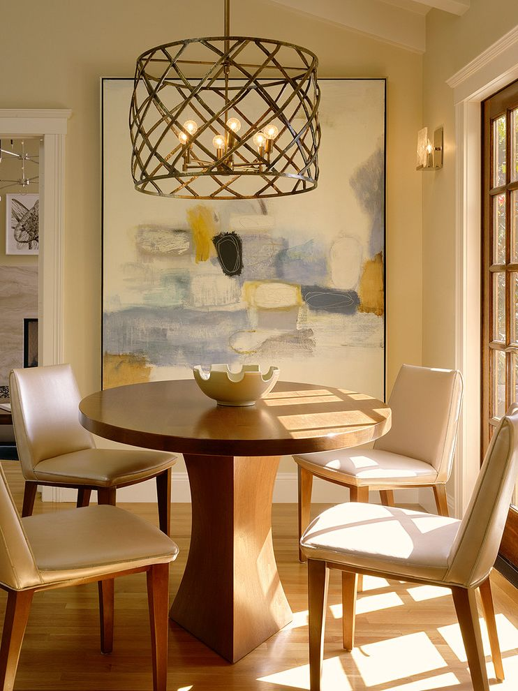Painting Light Switches   Transitional Dining Room  and Art Breakfast Room Chairs Chandelier Contemporary Custom French Doors Leather Modern Painting Pedestal Table Pendant Robert Kingston Table Traditional Wood Floor