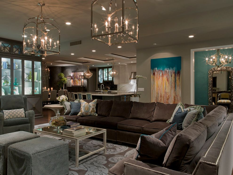 Painting Light Switches with Contemporary Living Room  and Abstract Art Brown Sectional Sofa Chocolate Brown Display Cabinet Glass Lantern Open Floor Plan Snow Leopard Ottomans Upholstery Nails