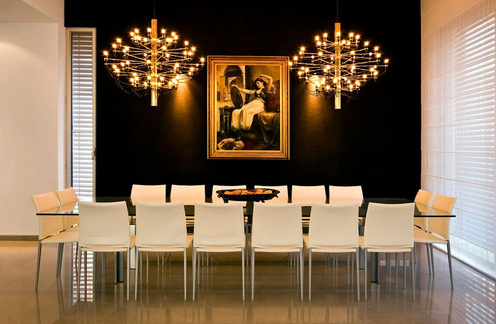 Painting Light Switches with Modern Dining Room  and Artwork Black Accent Wall Chandelier Formal Gilt Frame Glass Dining Table High Gloss Floor Louvers Painting Sheer Blind White Dining Chairs