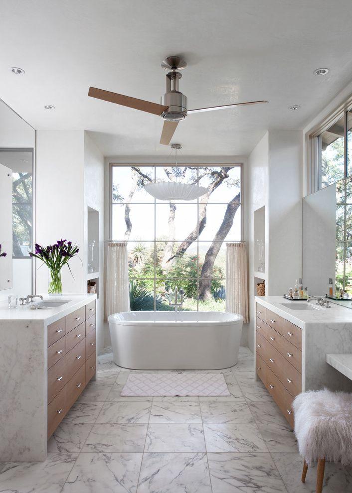 Panasonic Bath Fans   Mediterranean Bathroom  and Ceiling Fan Furry Stool Vanity Drawers Waterfall Countertop White Countertop White Floor Tile Window Wall