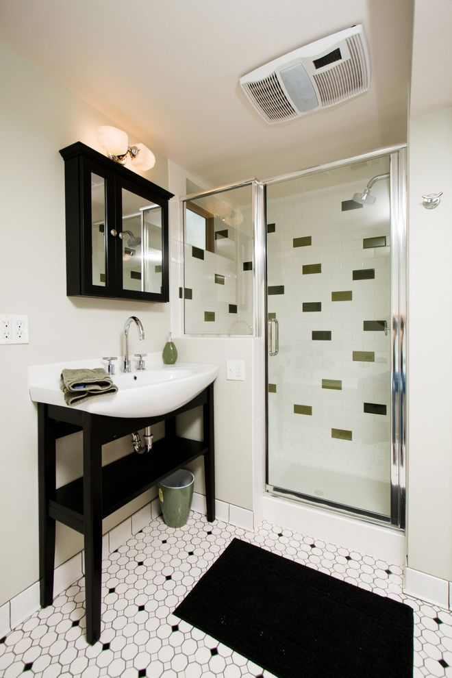 Panasonic Whisper Green Fan   Contemporary Bathroom Also Bathroom Mirror Bathroom Window Black and White Floor Tile Design Medicine Cabinets Rain Shower Head Sconce Subway Tiles Tile Flooring Tile Walls Vanity Wall Lighting Waste Basket