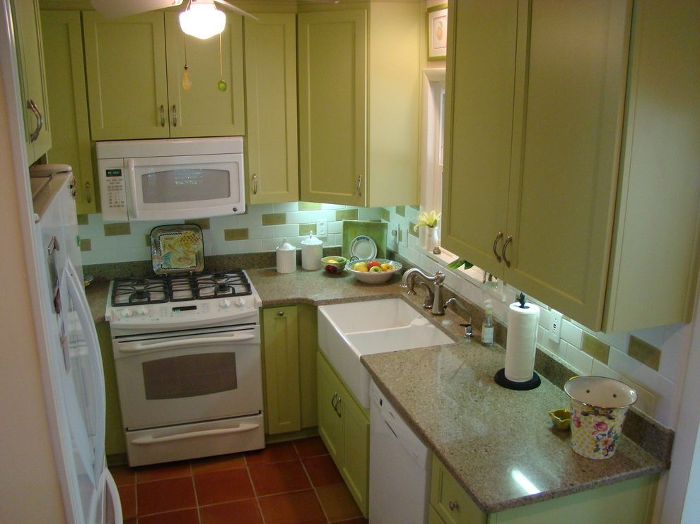 Panasonic Whisper Green Fan   Eclectic Kitchen  and Apron Front Sink Double Sink Green Cabinets Silestone Countertops Small Kitchen Subway Tiles White Appliances
