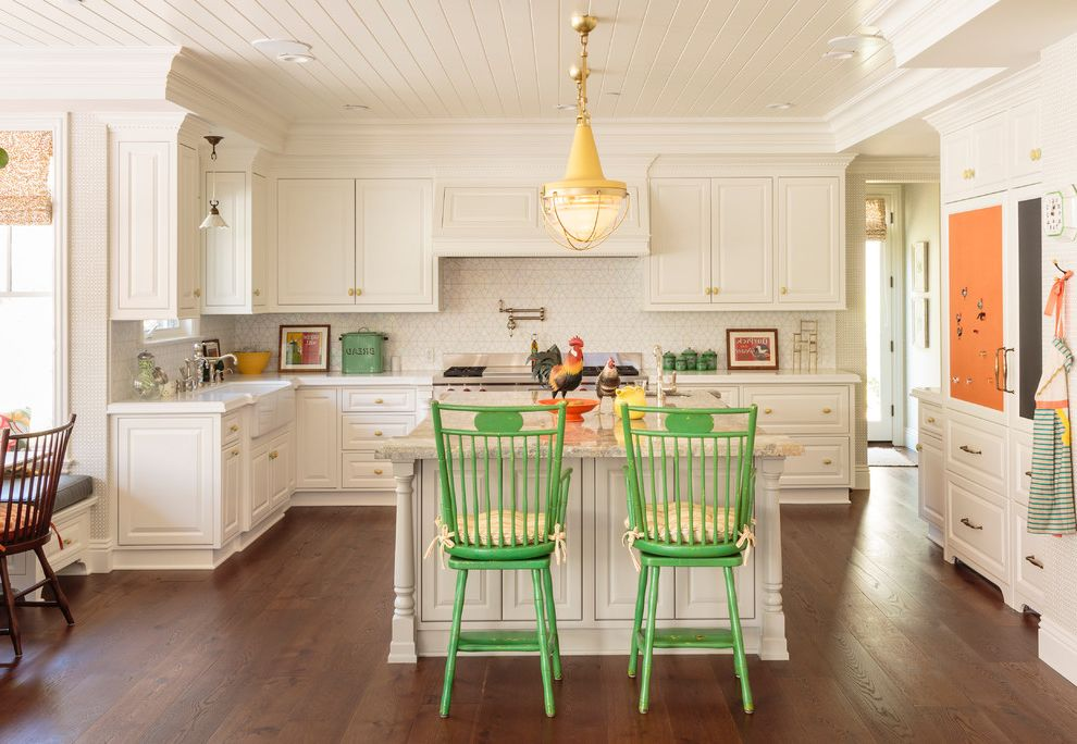 Panasonic Whisper Green Fan   Traditional Kitchen Also Built in Banquette Dark Wood Floors Decking Glass Tile Gray Island Green Large Banquette Leather Banquette Natural Lighting Orange Pop of Color Roosters Vintage Accessories White Cabinets Yellow
