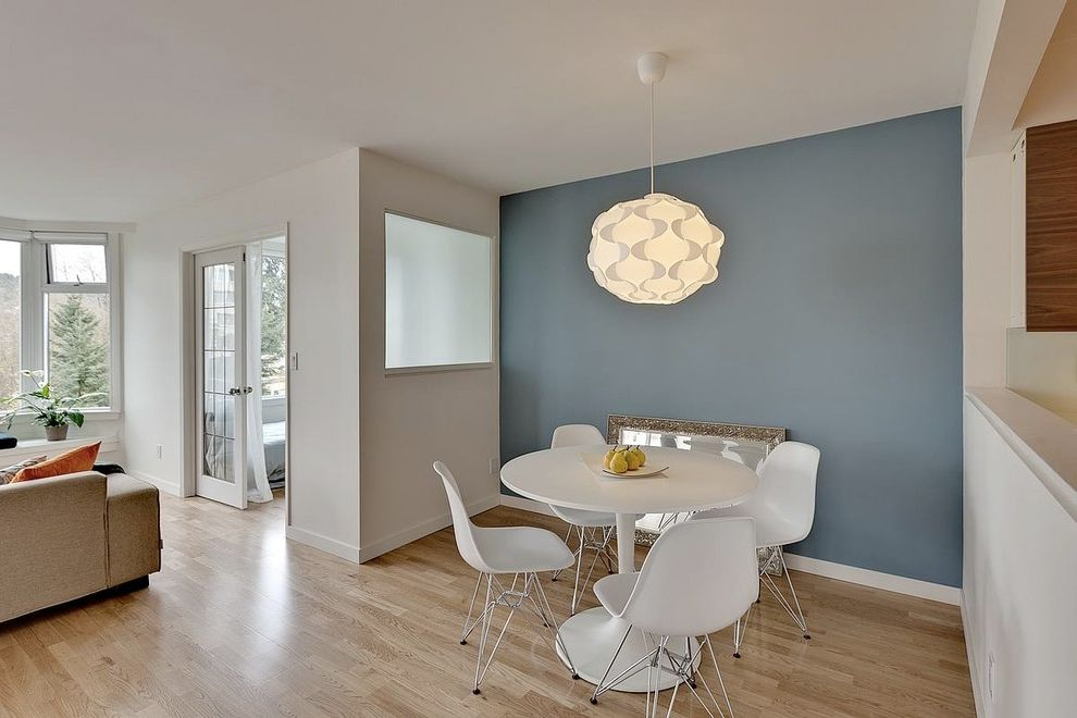 Paramount St Cloud   Modern Dining Room  and Bay Window Blue Built in Bench Seat Chair Doors Eames Engineered Floating Floor French Frosted Glass Lighting Molded Oak Pendant Seating Area Table Window Wire