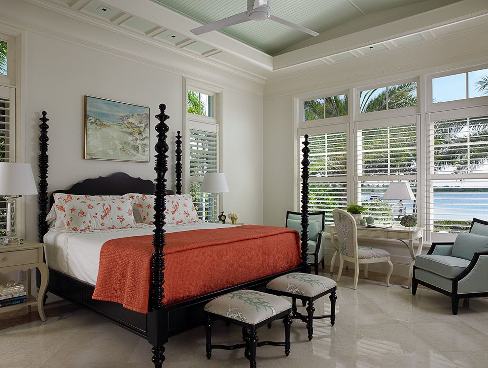 Paramount St Cloud   Tropical Bedroom  and Beach Beachhouse Bedroom Bench Bedroom Desk Ceiling Fan Chandelier Clean Colour Contemporary Coral Florida Four Poster Bed Holiday Modern Orange Plantation Blinds Transom Tropical Vacation