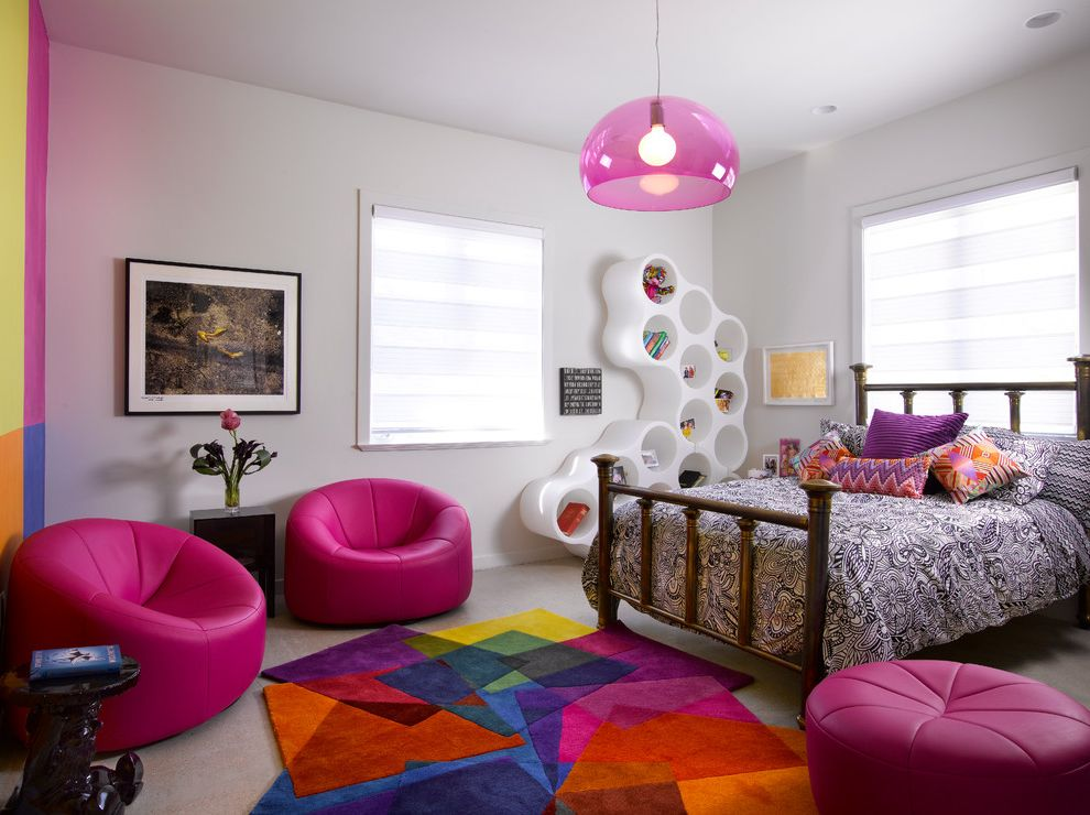 Paramount St Cloud with Contemporary Kids  and Bright Colors Colorful Area Rug Framed Artwork Gray Carpet Hot Pink Accents Pink Chairs Pink Pendant Light