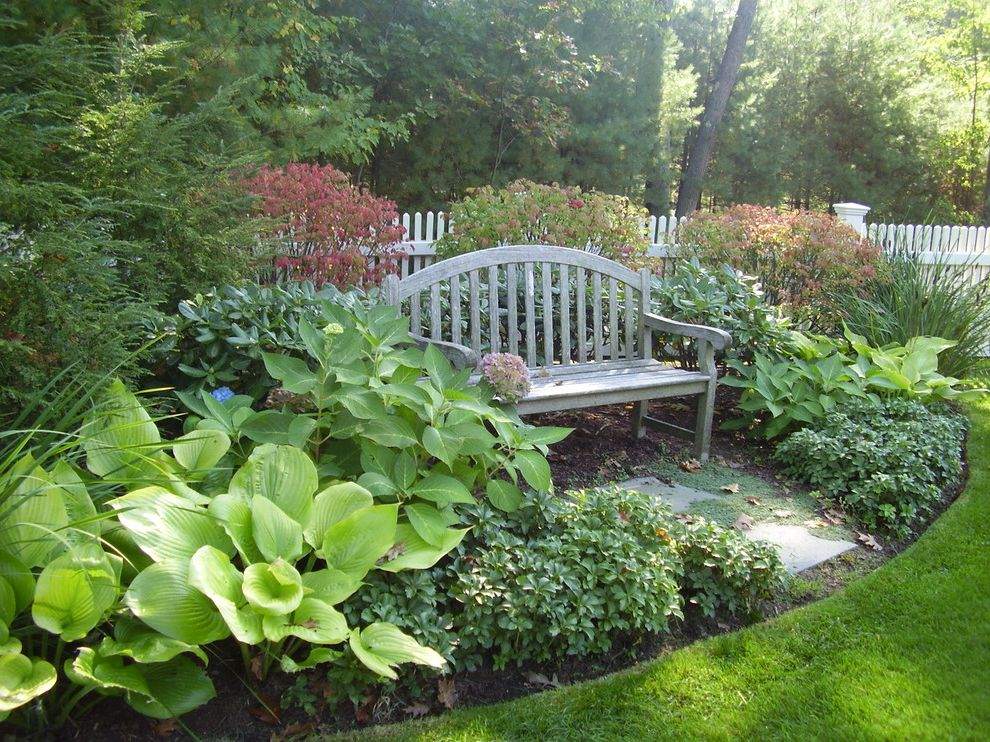 Park Benches for Sale   Traditional Landscape  and Garden Garden Bench Ground Cover Hosta Hydrangea Landscape Lawn Shrubs White Fence