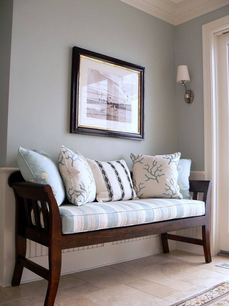 Park Benches for Sale with Traditional Entry Also Baseboards Beadboard Blue Walls Crown Molding Decorative Pillows Entry Bench Sconce Throw Pillows Tile Floor Wainscoting Wall Lighting White Wood Wood Molding